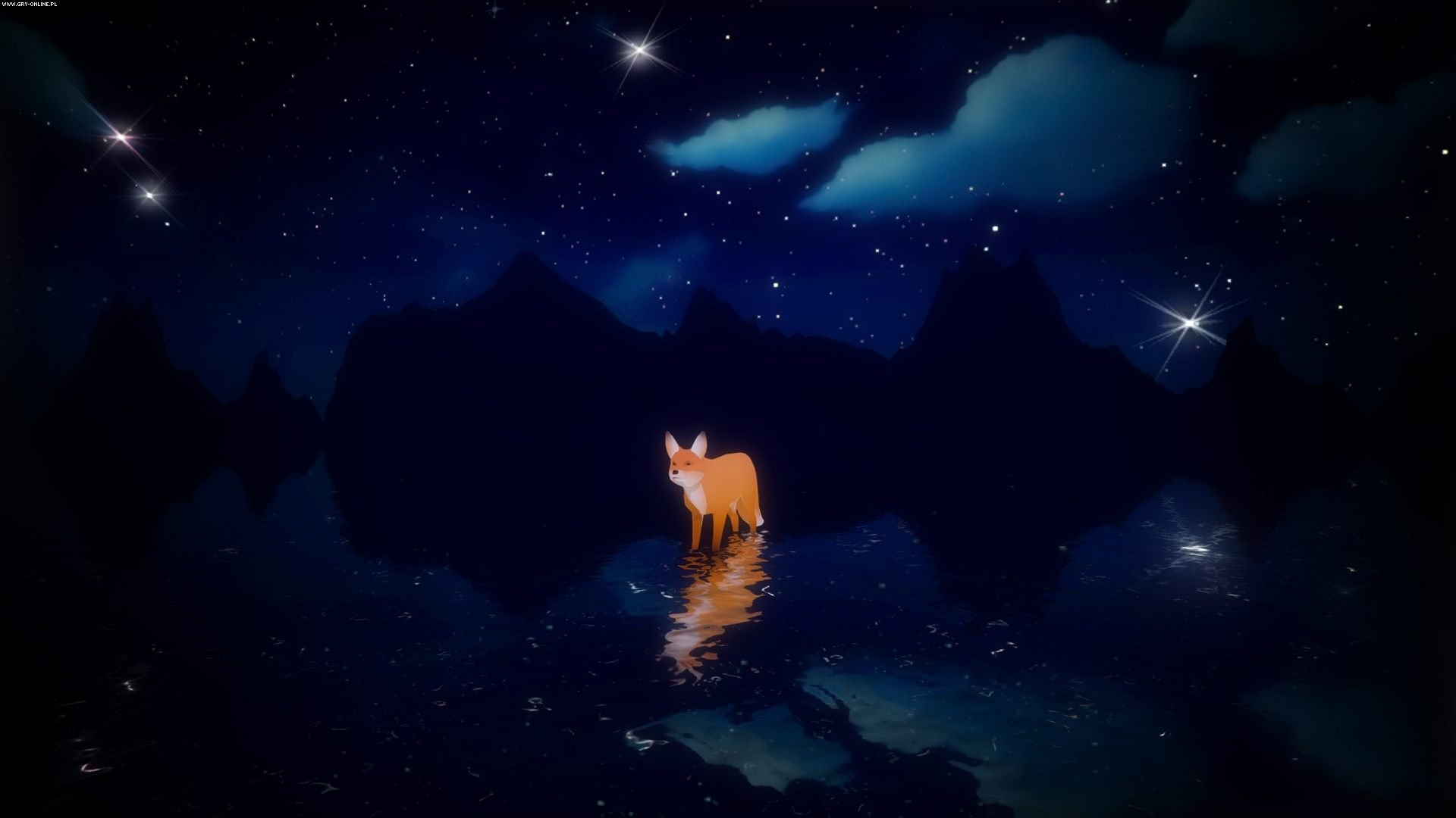 The fox walking on water amidst stars