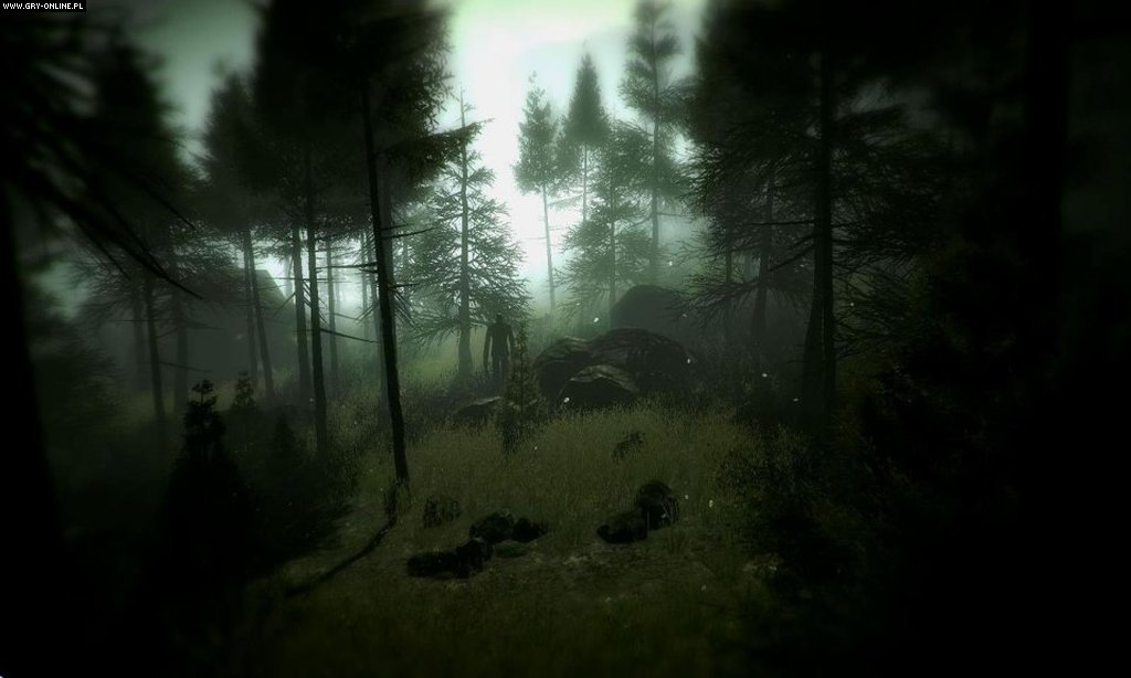 Slender: The Arrival (gra) - screen 25/27, Obrazki z gry, Slender man po�r�d drzew., zdj�cie z gry w wersji PC, Przygodowe, Parsec Productions, FPP, survival horror, horror, indie, Oculus Rift, rzeczywisto�� wirtualna - data publikacji: 2012-09-25 11:02:48 - gry-online.pl